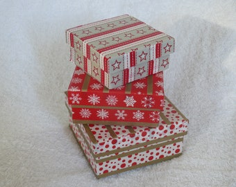 Set of 3 decorated cardboard boxes