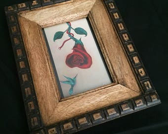 """Rosa Roja by Martha Guillen-Paramo, 10x8"""" Frame and 4x6"""" Hand Embellished Acrylic Photo Print"""