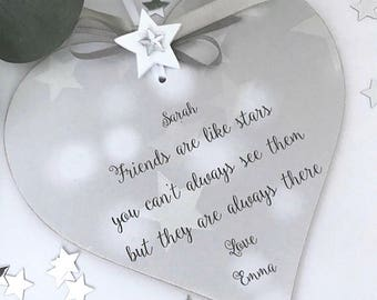 Personalised Friends Are Like Stars Gift Heart