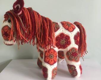 Crochet African Flower Soft Toy - Fatty Lumpkin (Brown)