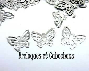 10 openwork wings silver Butterfly charms
