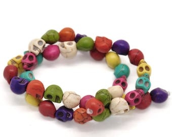 Howlite skulls mixed colors 10 beads