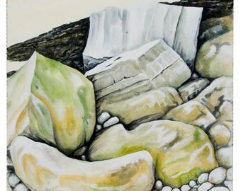 Framed Original Acrylic Seascape Painting on deep edged canvas rocks on the seashore. Title: Rocks Four. Artist Peter Davies