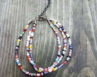 Seed bead rainbow bracelet