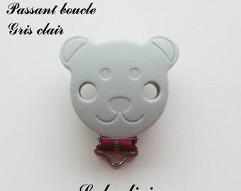 Clip / buckle silicone pacifier clip, Clip, Teddy bear: light gray