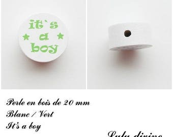 Wooden bead of 20 mm, flat bead, It's a boy: White / Green
