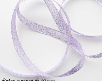 Glitter 10 mm, sold in 2 meters organza Ribbon: purple with silver threads