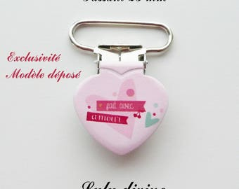 Heart, Pacifier Clips 10 pink heart made with love from 25 mm