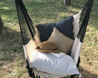 Hammock chair design, very trendy for a chic and Bohemian, inside and outside