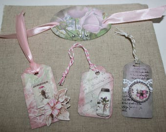 set of 4 labels/tags made handmade pink flower for your scrapbooking, gift wrapping decoration