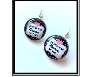 """Earrings original & unique """"I'm a nanny on Top"""" personalized, fun, humour, heart, bow, black, pink"""