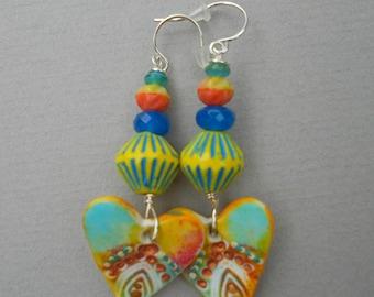 Polymer clay earrings,multicolour earrings,boho earrings,heart earrings