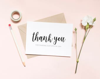Wedding, Printable, DIY Wedding, Thank You Cards Wedding thank you for sharing our special day card