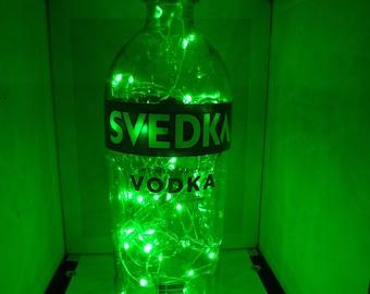 Svedka color changing LED lamp (battery) Glass Liquor Bottle - LED Lighting with REMOTE!!