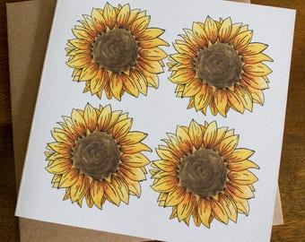 Sunflower Illustration Greetings Card
