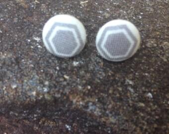 Gray Hexagon Cover Button Earrings