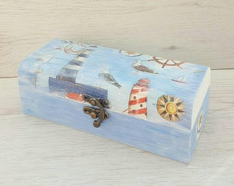 Nautical beach box, Beach wooden box, Nautical decor, Beach home gift, Seaside wood box, Beach home decor, Seashore box, Jewelry wood box