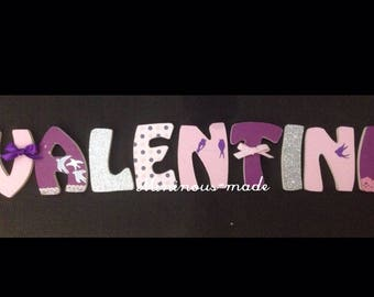 Decorated with swallows Valentine theme wooden name