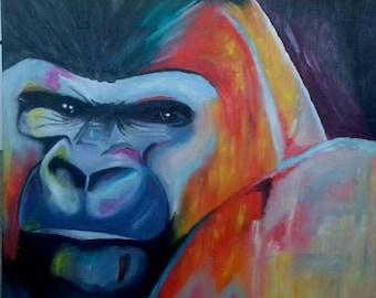 Gorilla monkey painting oil on canvas painting