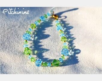 Different sizes Swarovski pearl bracelet blue aquamarine and peridot Green