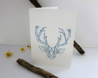 Embroidered blue origami deer card