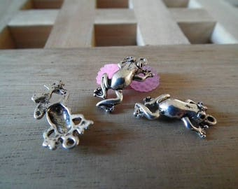 X 10 inches 22mm silver frog charms