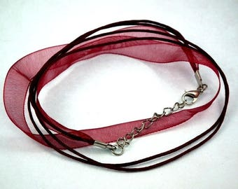 X 1 pce /coton organza necklace Burgundy ♥ ♥