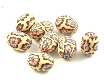 X 10 beads 16mm beige oval polymer clay
