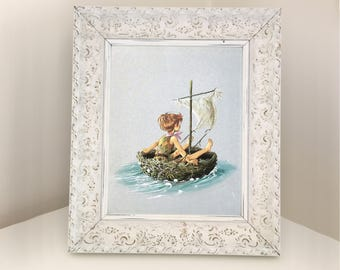 Peter Pan in Bird's Nest Boat. Page from Vintage Book. Illustration by Anne Grahame Johnstone. Gift for Boy Baby Shower. Nursery Decor