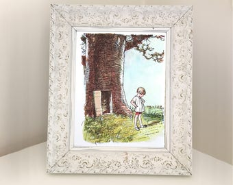 Vintage Book Page of Christopher Robin from Winnie the Pooh outside Piglet's House. Print for Framing. Gift for Child. Nursery Bedroom Decor