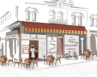 SEMI-rigid PLACEMAT, ORIGINAL, plastic, WASHABLE and durable - 10 Paris Cafes.