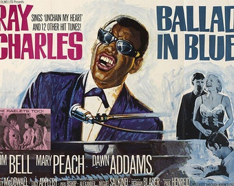 VINTAGE PLACEMAT - Poster-cinema - Ballad in blue with Ray Charles.
