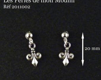 1 pair silver Fleur de lis Stud Earrings / 2011002