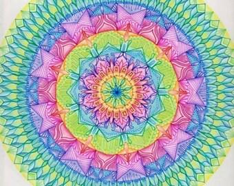12x12 Rainbow Mandala Wall Art - LGBTQ Gay Lesbian Pride - Zen Doodle Geometric Pattern Drawing - Support Love - Relaxing Psychedelic Decor