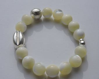 elastic Pearl spacers and silver bracelet 950