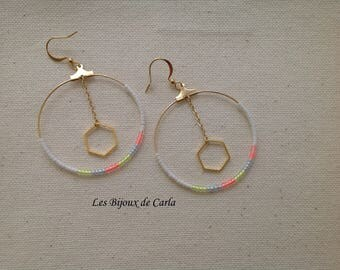 Neon Miyuki beads earrings