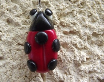 Keyring with Ladybug red effect glitter