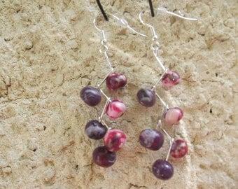 Purple and pink dangle earrings