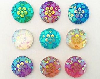 90PCS 12mm round Resin flower Flatback Buttons scrapbook button decoration Buttons rhinestone button Round Cabochon Resin Rhinestone Buttons