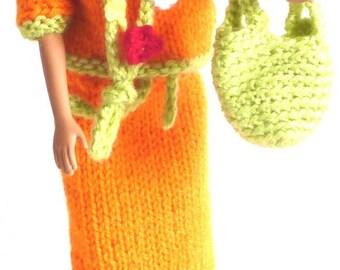 Flower skirt, sweater, hat, bag and Barbie necklace set
