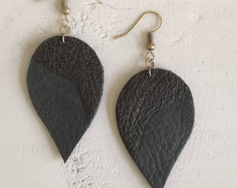 soft, black and green leather earrings
