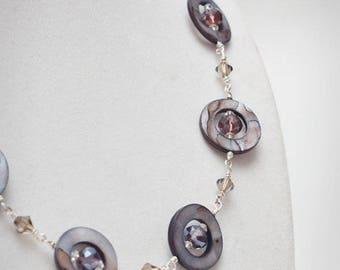 Stylish modern design mother of pearl and crystal purple and smoke necklace