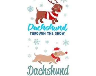 Dachshund Through the Snow Dog Christmas Cuttable Design SVG PNG DXF & eps Designs Cameo File Silhouette