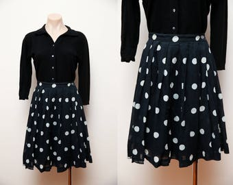 Vintage 80s does 1950s circle day skirt black and white polkadot