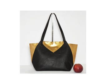 Ledershopper Black Gold Metallic handle bag