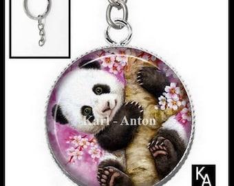 Silver cabochon 25 mm resin panda Keyring (1623) - animals, bears