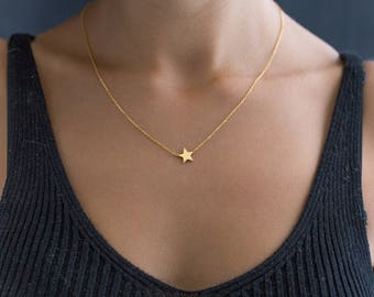14K Solid Gold Star Necklace - Gold Star Necklace - Little Star with 14K Solid Gold - Dainty Gold Necklace - Bridesmaid Gift - Gift for her