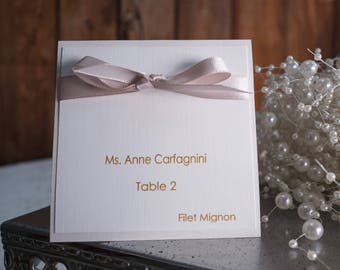 Ribbon Place Card, Ribbon Wedding Place Card, Luxurious Ribbon Place Card, Upscale Place Card, Chic Place Card, High End Place Card