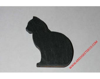Natural slate cat magnet
