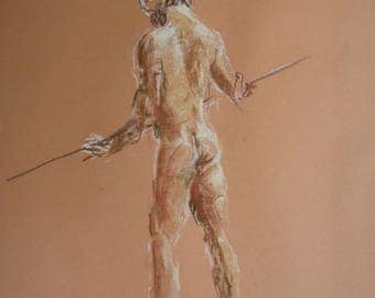 "Original drawing 49 x 35 cm sketch with pastels of a naked man on the ""sagaie"""